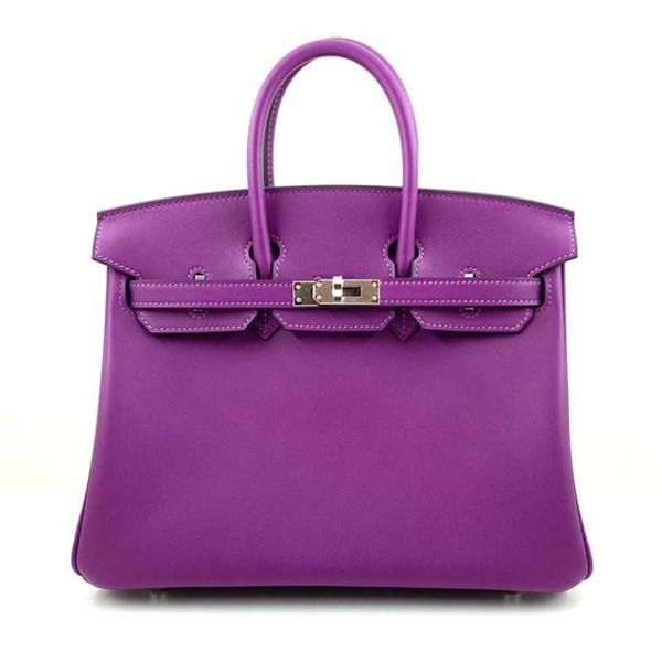 A Hermes 25cm Anemone Birkin in swift leather with palladium hardware. Includes all accessories