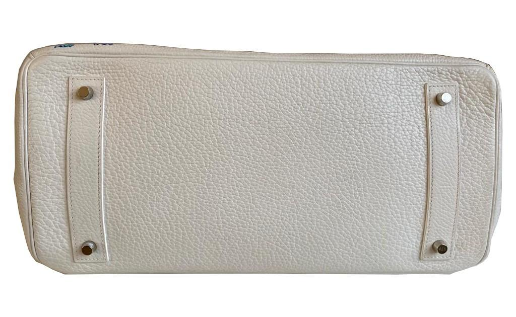 A white Jean Paul Gaultier (JPG) Hermes Birkin in clemence with palladium hardware, including - Image 12 of 15