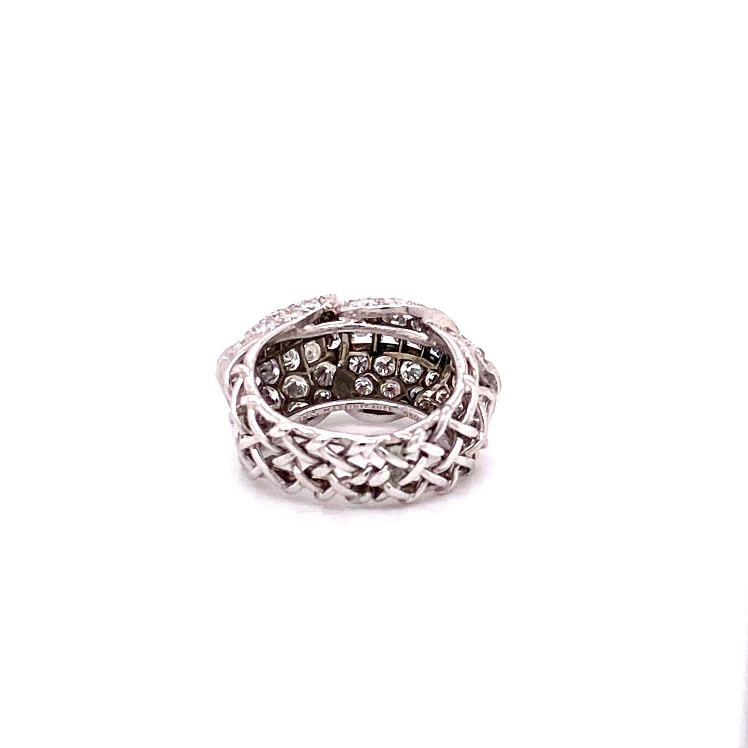 A 1950's Cartier Cocktail Ring, Cartier baguette and brilliant cut pave set dome top bombe ring - Image 8 of 9