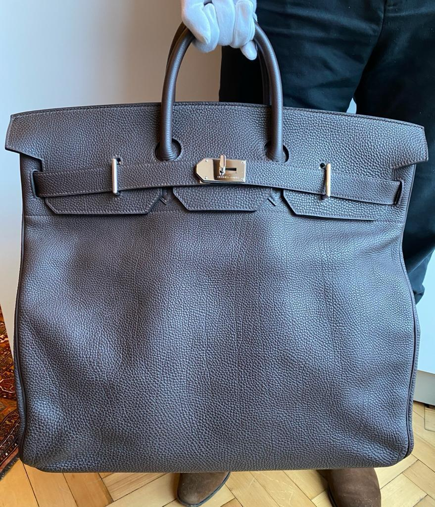 A brown Hermes Birkin Haut à Courroies (HAC) in togo leather with gold hardware, with dustbag, lock, - Image 14 of 15