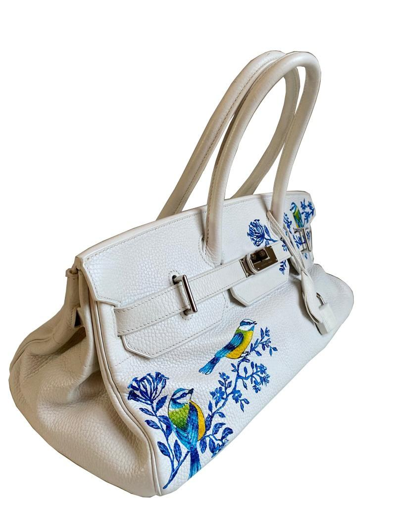 A white Jean Paul Gaultier (JPG) Hermes Birkin in clemence with palladium hardware, including - Image 4 of 15
