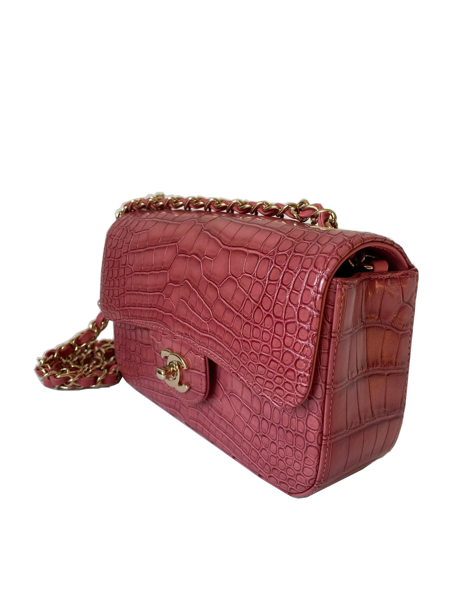 A Chanel Classic Flap in Dusky Pink Crocodile leather with Gold Hardware is instantly recognizable - Image 5 of 5