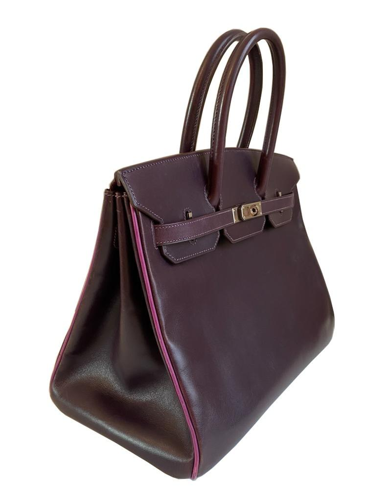 A Raisin & Cyclamen Hermes Birkin in box leather with palladium hardware with dustbag, key, lock and - Image 3 of 10