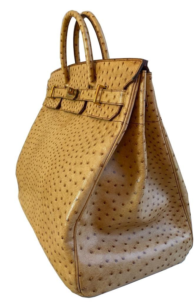 A gold Hermes Birkin Haut à Courroies (HAC) in ostrich leather with gold hardware, includes brown - Image 3 of 10