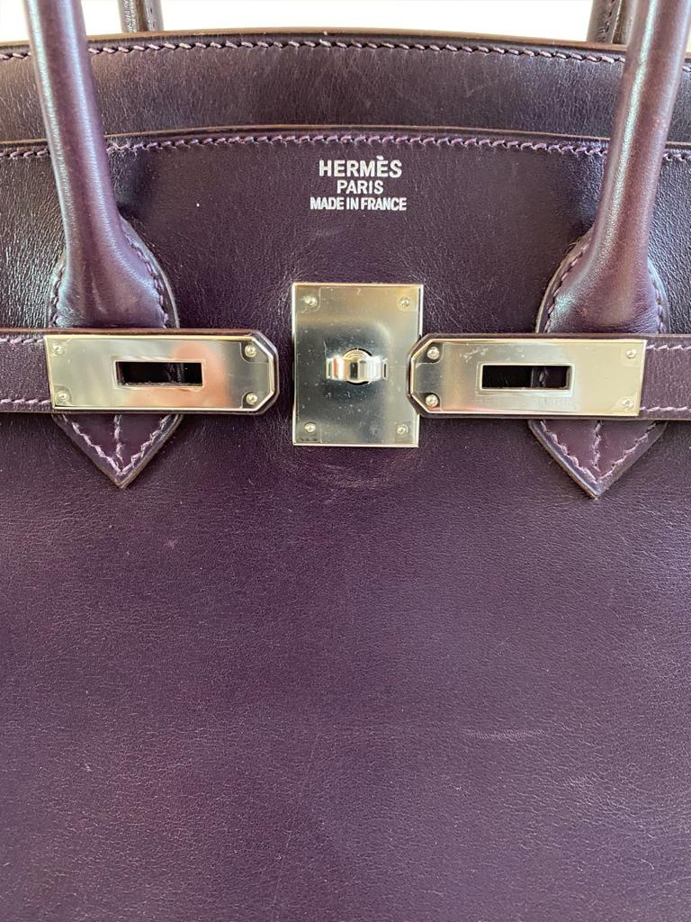 A Raisin & Cyclamen Hermes Birkin in box leather with palladium hardware with dustbag, key, lock and - Image 5 of 10