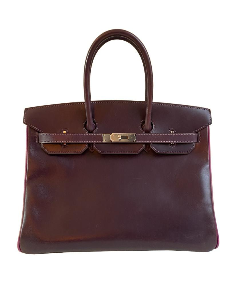 A Raisin & Cyclamen Hermes Birkin in box leather with palladium hardware with dustbag, key, lock and