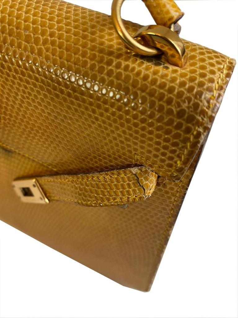 A yellow Hermes Kelly in Lizard with gold hardware, including strap. W.20cm x H.14cm x D.9cm, - Image 6 of 11