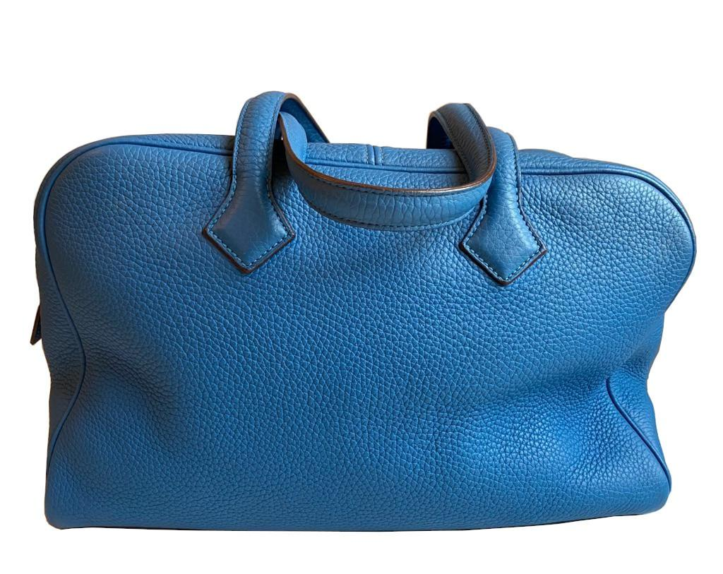 A Hermes Bleu de Galice Victoria II in clemence leather with palladium hardware, includes Dustbag. - Image 8 of 12