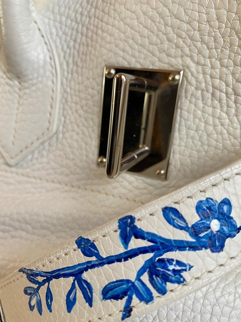 A white Jean Paul Gaultier (JPG) Hermes Birkin in clemence with palladium hardware, including - Image 10 of 15