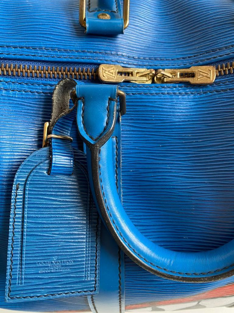 A Louis Vuitton Keepall 45 in Toledo Blue is the smallest version of the Louis Vuitton travel bag - Image 5 of 9
