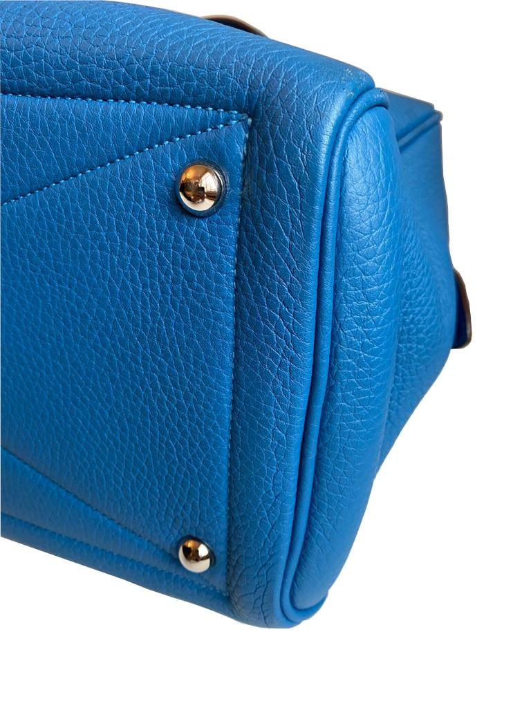 A Hermes Bleu de Galice Victoria II in clemence leather with palladium hardware, includes Dustbag. - Image 7 of 12