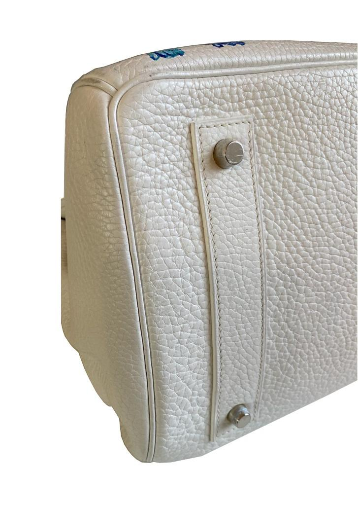 A white Jean Paul Gaultier (JPG) Hermes Birkin in clemence with palladium hardware, including - Image 13 of 15