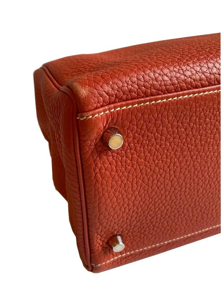 A sanguine Hermes Kelly in clemence leather with palladium hardware, includes Dustbag, Raincover, - Image 7 of 11