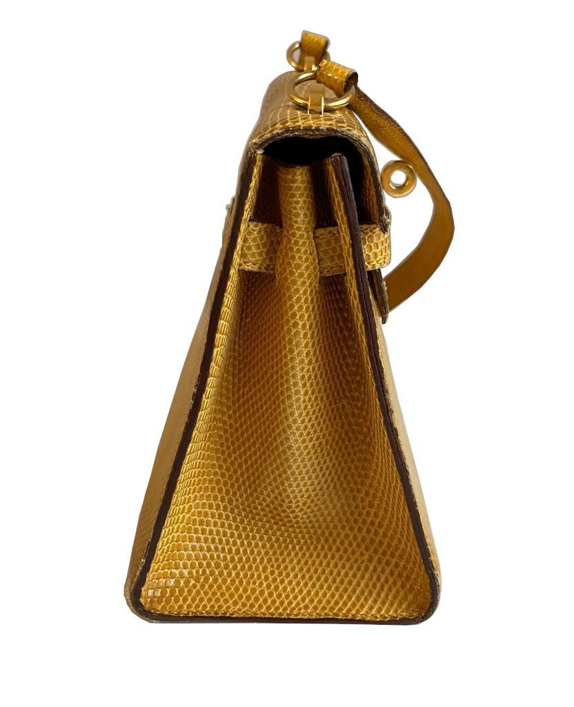 A yellow Hermes Kelly in Lizard with gold hardware, including strap. W.20cm x H.14cm x D.9cm, - Image 3 of 11
