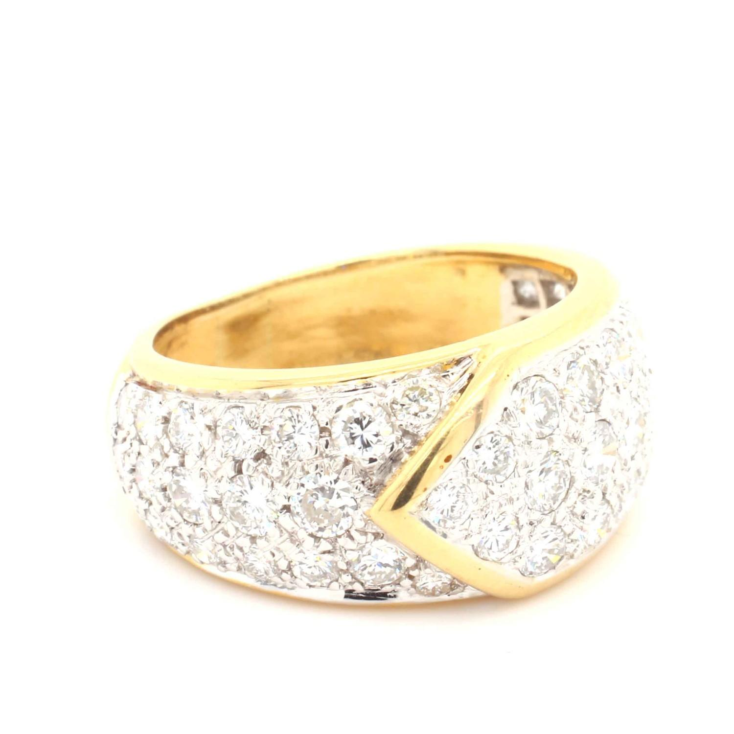 A Graff diamond Ribbon Ring, Contemporary pave set diamond buckle ring mounted in 18ct gold and