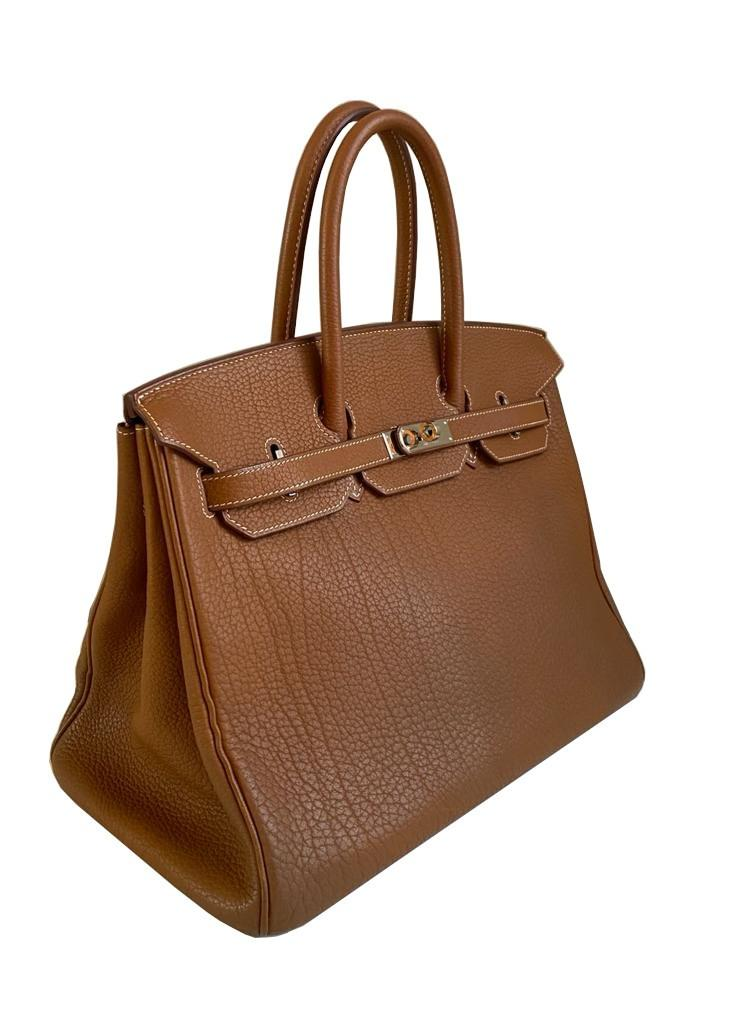 A gold Hermes Birkin in fjord leather with palladium hardware, with key, lock and spa receipt, W. - Image 3 of 9