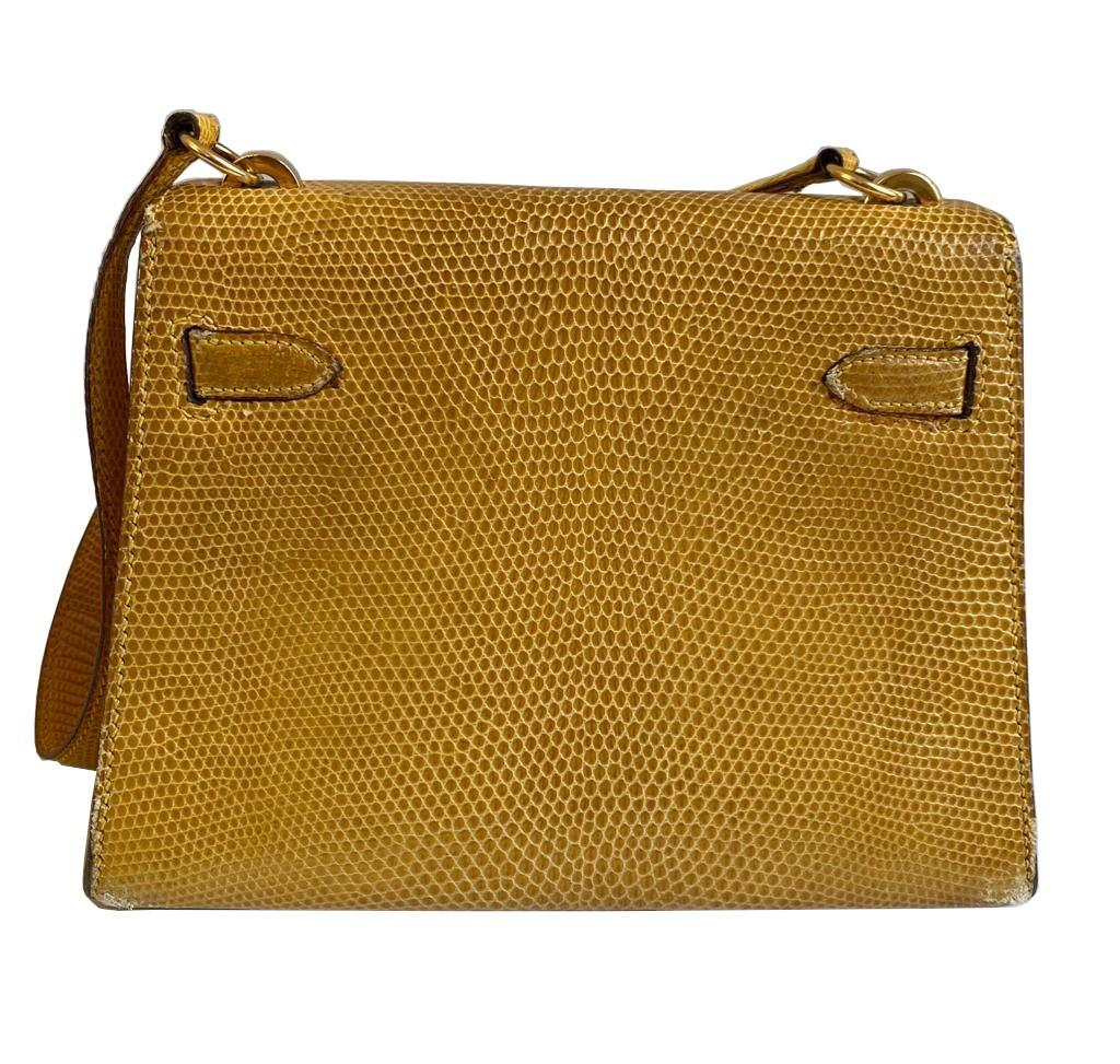 A yellow Hermes Kelly in Lizard with gold hardware, including strap. W.20cm x H.14cm x D.9cm, - Image 4 of 11