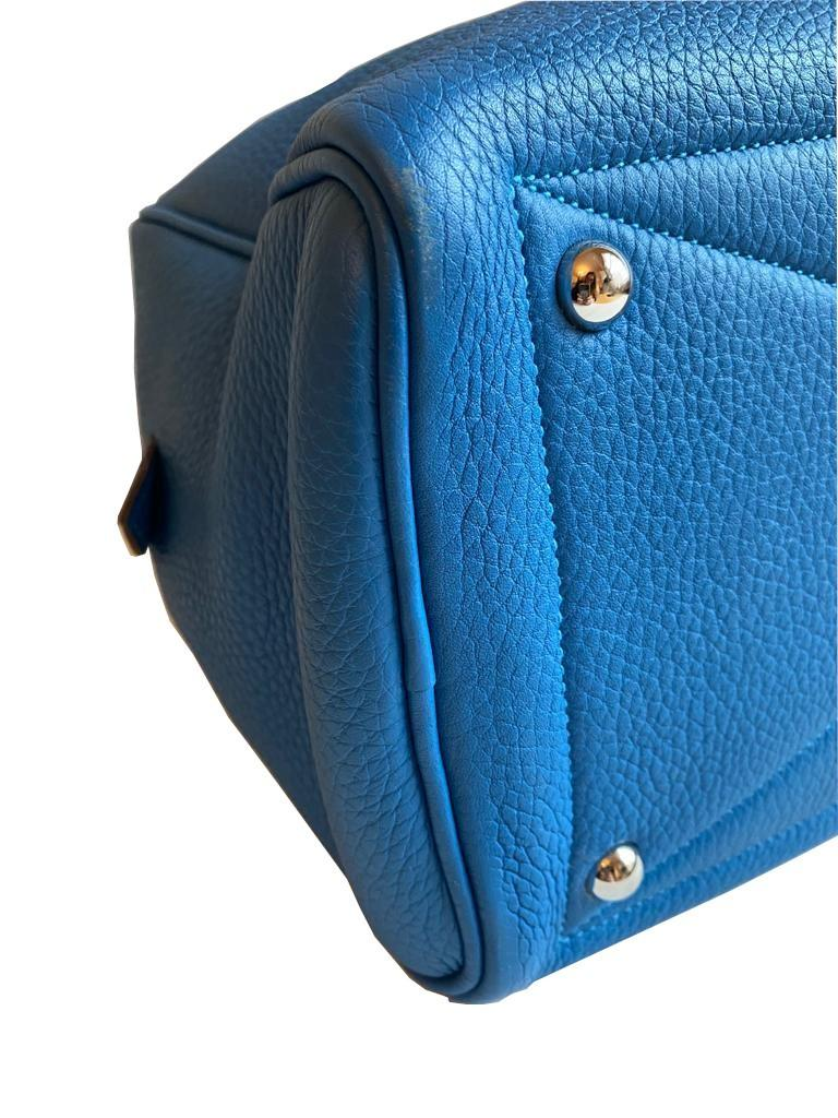 A Hermes Bleu de Galice Victoria II in clemence leather with palladium hardware, includes Dustbag. - Image 6 of 12