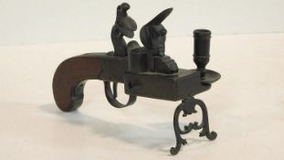 A Late 18th Century bronze mounted walnut Strike-a-Light tinder pistol with matchbox & taper