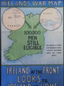 A framed WW1 Ireland's War Map poster by Alex Thorn and Co Ltd, Dublin. Department of recruiting for
