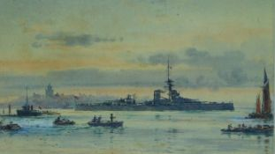Frank Watson Wood (British, 1862-1953) An unframed watercolour, H.M.S. Thunderer, signed and