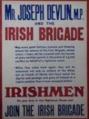 A framed and glazed WW1 Mr Joseph Devlin M.P. Irish Brigade poster by Hely's Ltd, Dublin. 53x40cm