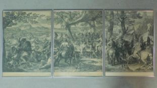 A series of three framed and glazed 19th century engravings after Charles le Brun, Valour is Priz'