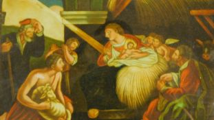 A framed Regency mezzotint-under-glass entitled 'The Birth of Christ' Published by WB Walker, 4