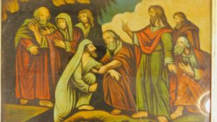 A framed Regency mezzotint-under-glass entitled 'Christ Raising Lazarus' by WB Walker. 30x41cm