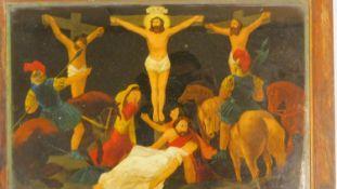 A framed Regency mezzotint-under-glass entitled 'The Crucifiction'. 30x40cm