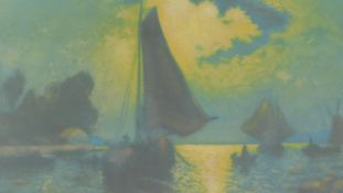 A framed and glazed coloured mezzotint by French artist Heran Chaban (1887 - 1939) of sailing