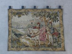 A medieval style wall hanging tapestry, The Royal Hunt by Mark Waymel for The Franklin Mint. H.