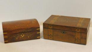 A 19th century Tunbridge inlaid walnut jewellery box and an Eastern brass inlaid domed top box. H.12
