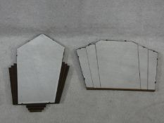 An Art Deco geometric form wall mirror and another similar. H.74xW.45cm