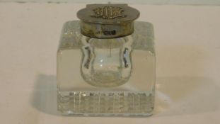 A Victorian silver and cut crystal ink well, hallmarked GC for George Cowles, London, 1902. Stamped