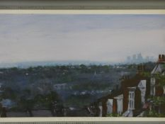 Terence Howe (B.1943) a framed oil on panel, A View of the City from Muswell Hill, signed and