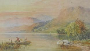 A 19th century framed and glazed watercolour, reed cutters in a Highland setting, signed W Ellis.
