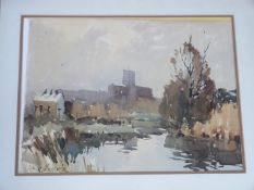 A framed and glazed watercolour by British artist Edward Wesson (British, 1910?1983), titled '