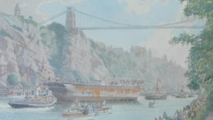 A framed and glazed limited edition print (772/850), boat under the Clifton Bridge, Bristol -