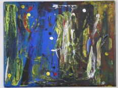 """Terence Howe (B.1943) A framed oil on panel and mixed media abstract composition, """"A Midsummers"""