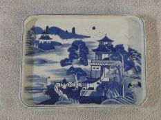 A Ming dynasty Chinese export Canton blue and white porcelain octagonal tea tray with hand painted