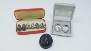 A collection of jewellery. Inlcuding a Victorian carved jet cameo brooch with the profile of a Greek