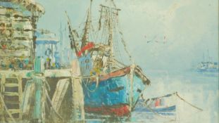 A gilt framed oil on canvas, fishing boat at a quay, signed Florence. 35x40cm
