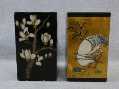 A pair of Japanese lacquered pedestals, one with a standing crane in various aspects to a golden