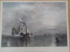 After Turner, The Fighting Temeraire, a 19th century framed and glazed hand coloured engraving, J