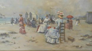 A contemporary gilt framed oil on canvas, A 19th century beach scene with seated figures in the