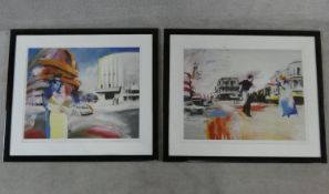 Ivan Schwebel (1932-2011) two framed and glazed limited edition etchings, figures on a New York