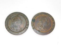 Two George III bronze cartwheel pennies, 1797. One side with George III with laurel wreath and the