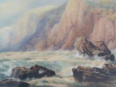 Edgar E. West (fl.1857-1892) A large 19th century framed and glazed watercolour, stormy sea and