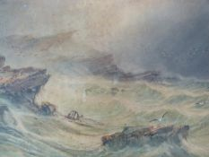 A framed and glazed 19th century watercolour, stormy seascape, by John H. Bland. 77x92cm